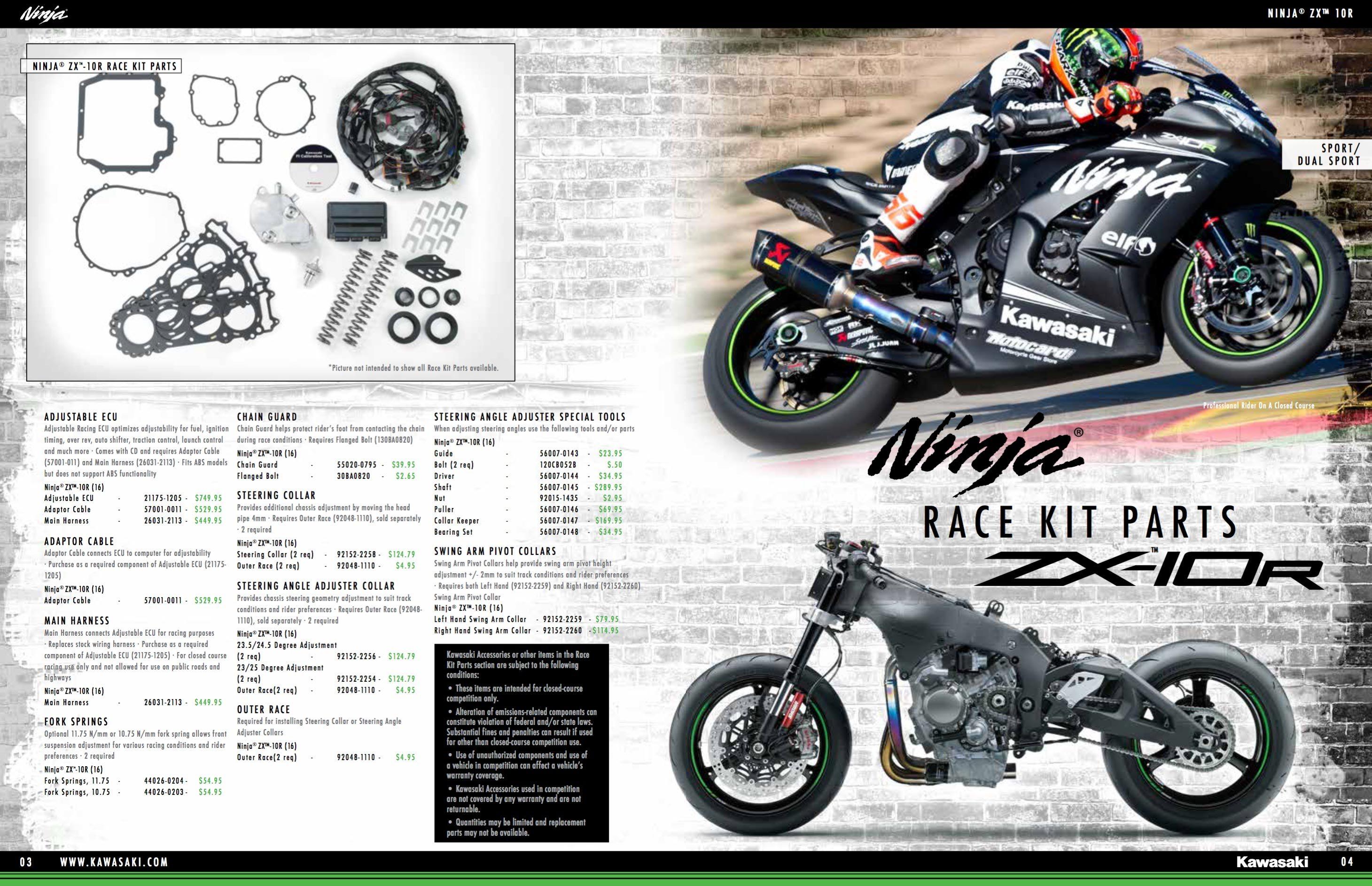 New Kawasaki Ninja Zx 10r Racing Parts Catalogue Released Bmw Motorcycle Wiring Harness 2016 Race Kit