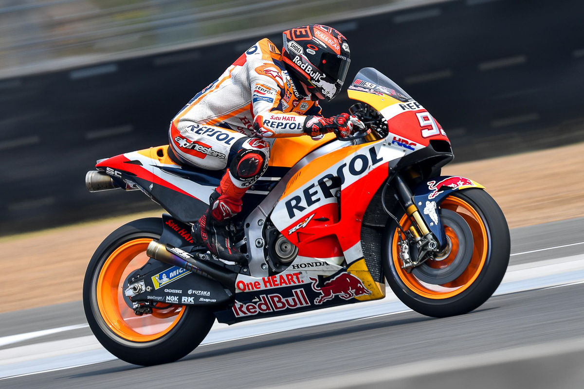 motogp repsol honda testing carbon fibre swingarm bikesrepublic. Black Bedroom Furniture Sets. Home Design Ideas