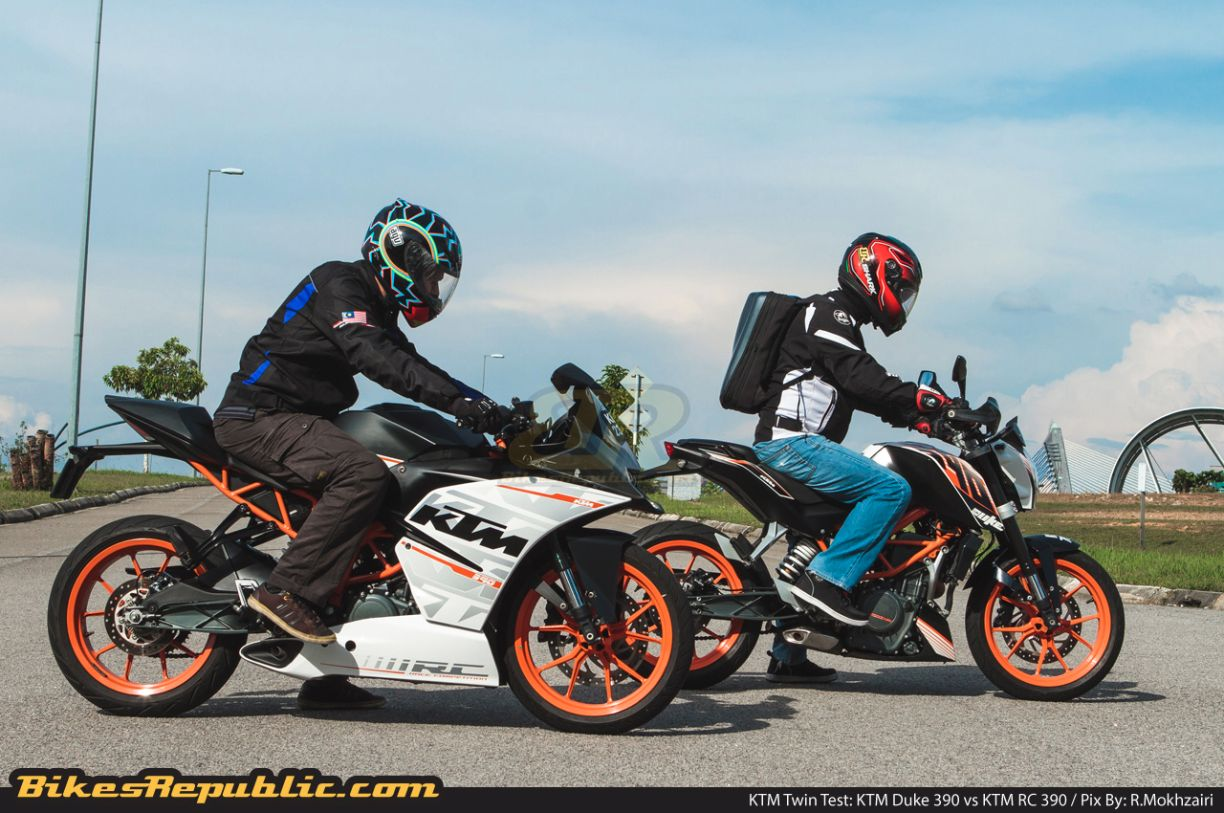 twin-test: ktm duke 390 vs ktm rc 390