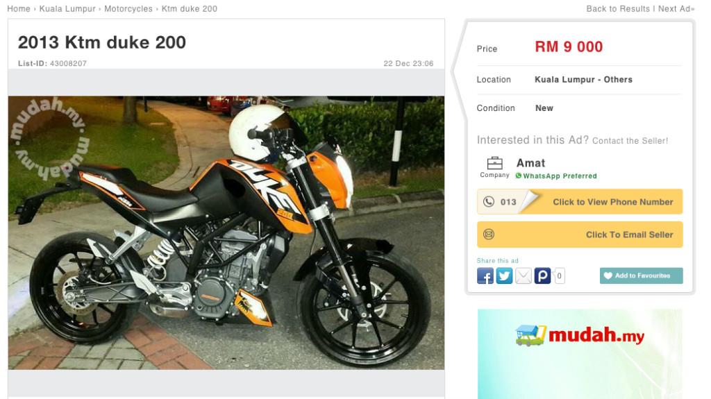 KTM 200 Duke Mudah Ad