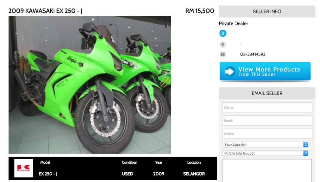Kawasaki EX250-J BikeTrader Ad