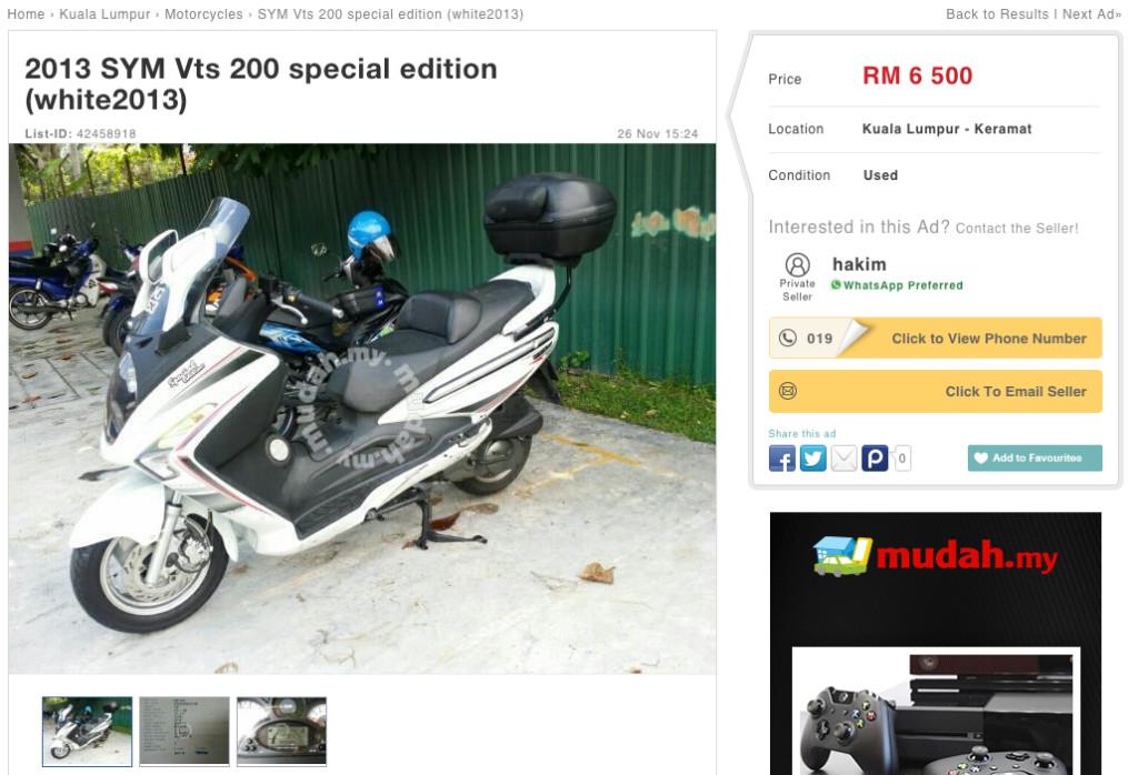 SYM VTS 200 Mudah Ad