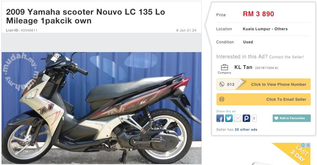 Yamaha Nouvo 135LC Mudah Ad