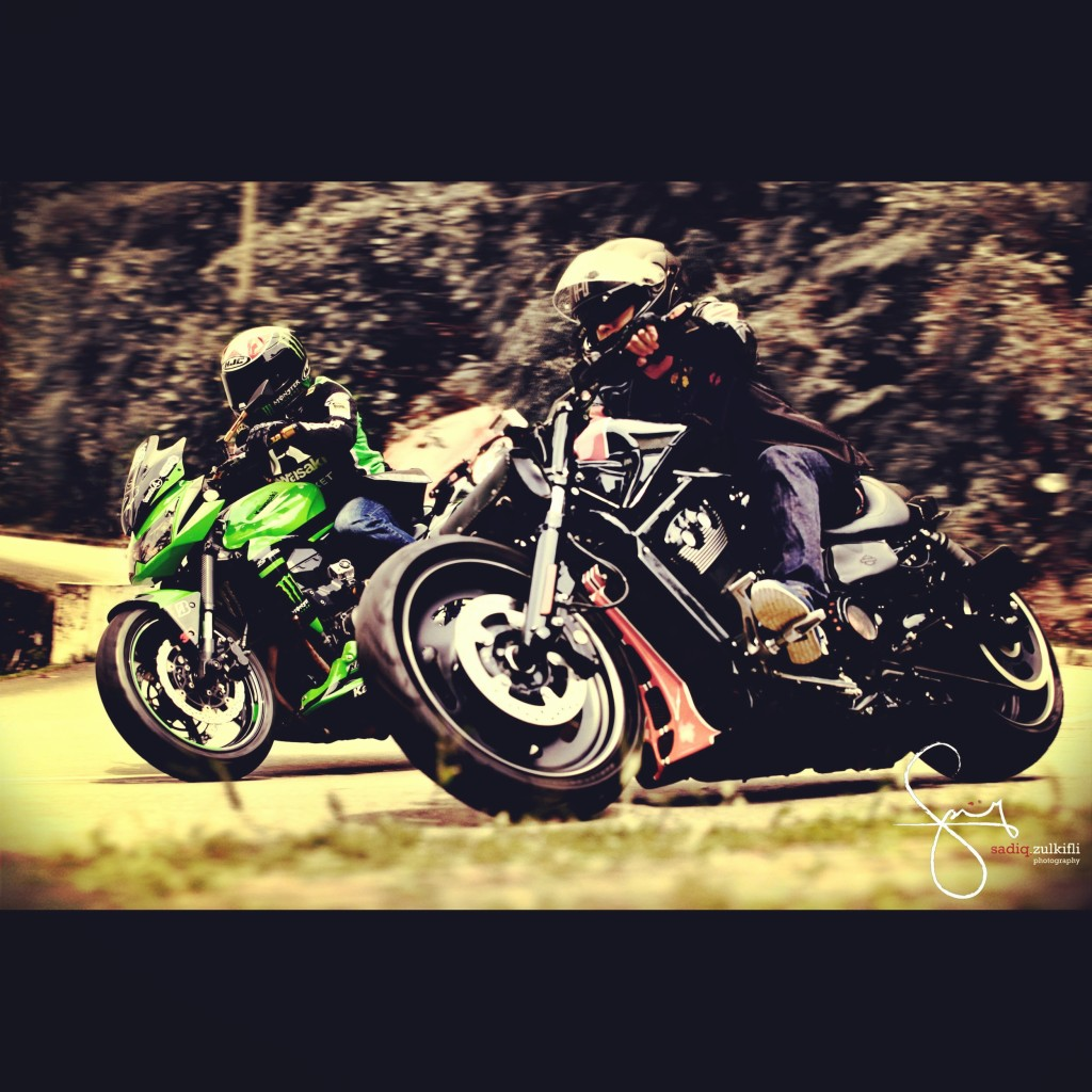 Jehan with his brother Sean on a Kawasaki Z750