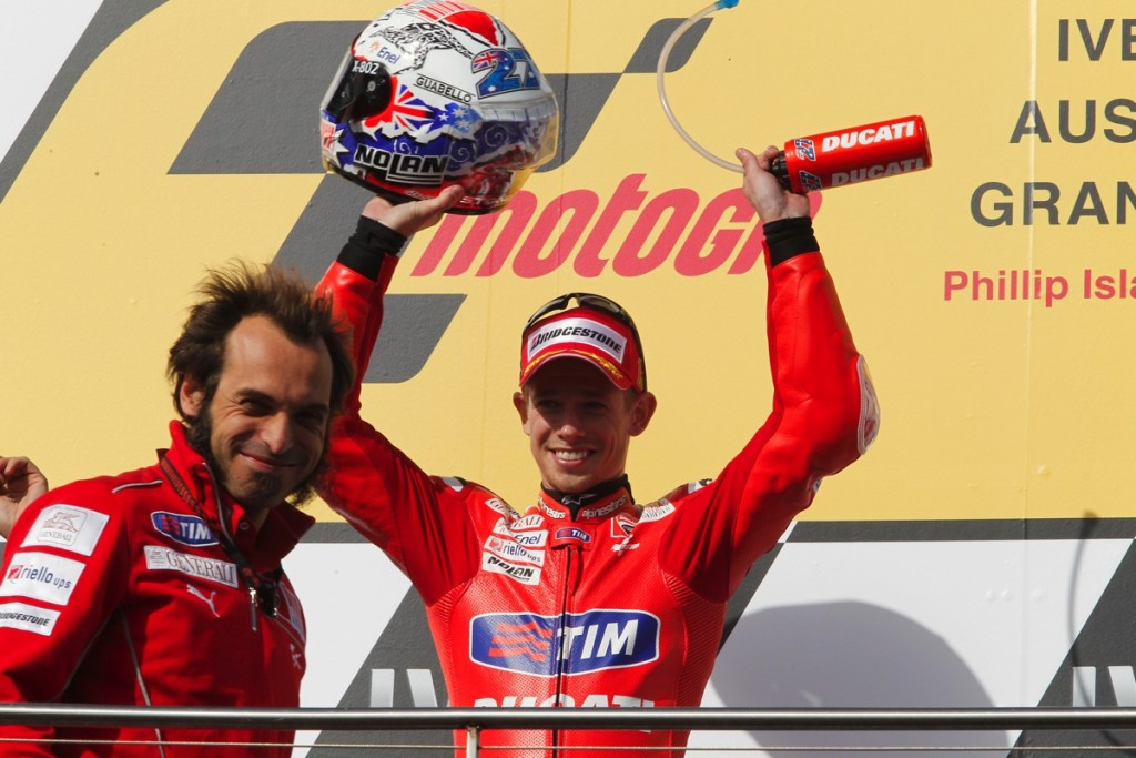 Stoner celebrating what would become Ducati's last MotoGP race victory at Phillip Island in 2010.