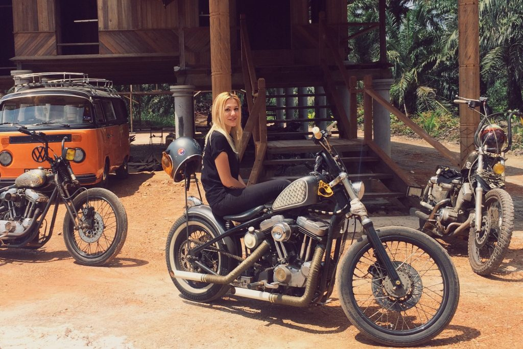 Mia with her beloved custom 1998 H-D Sportster Rigid (carburettor).