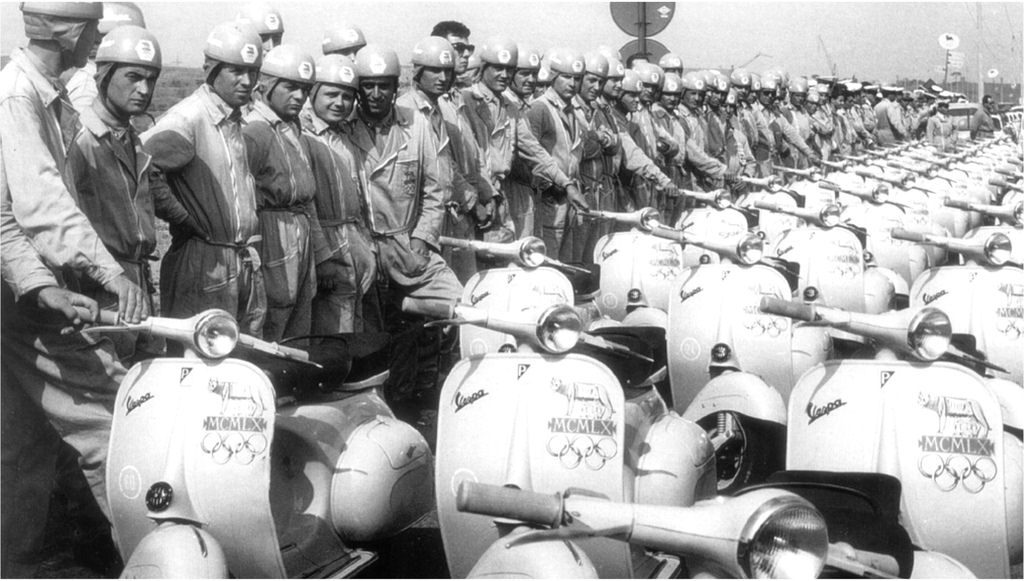 Official Vespa rides at the 1960 Rome Olympics.