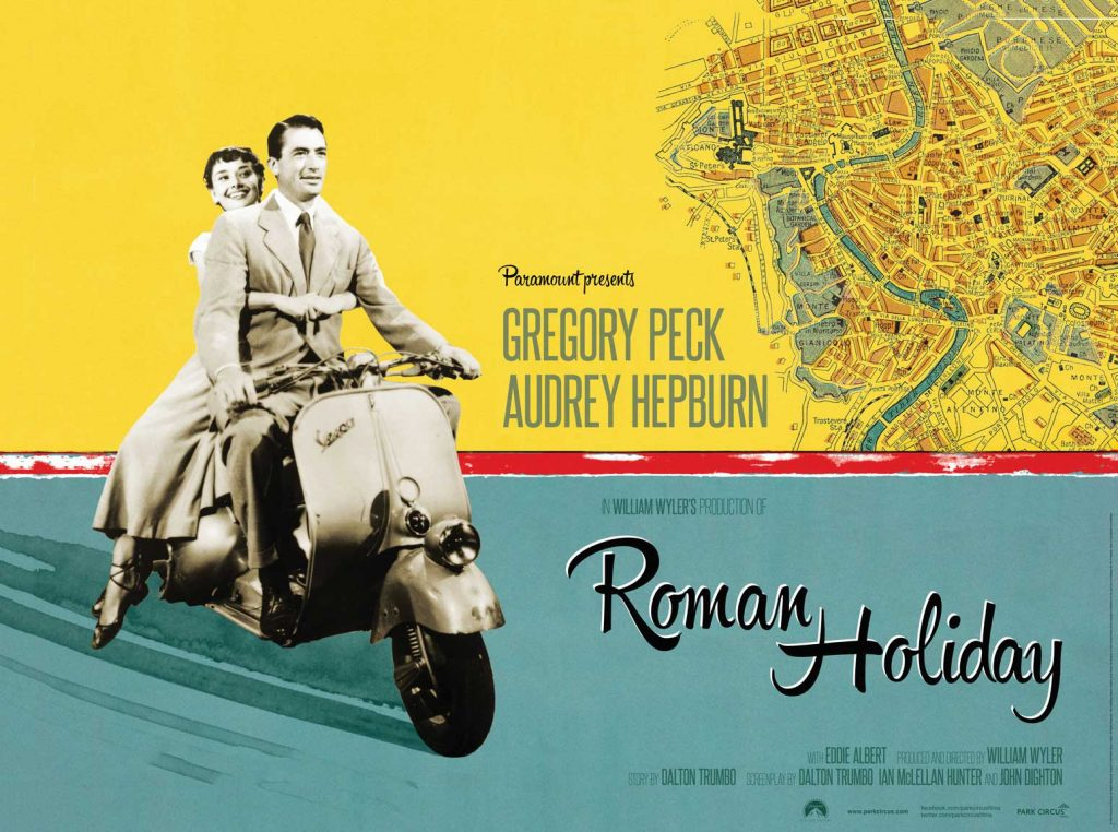 "Gregory Peck & Audrey Hepburn on the Vespa 125 in the 1952 romantic comedy film ""Roman Holiday""."