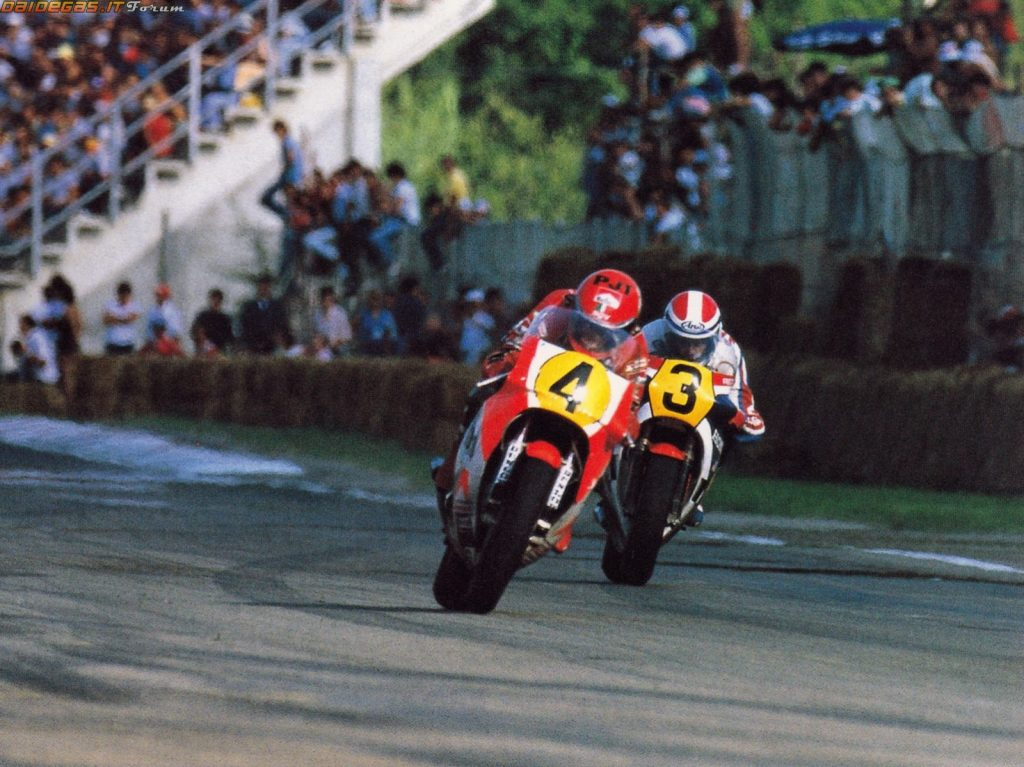 Freddie Spencer vs Kenny Roberts @ 1983 Swedish GP (image source: Pinterest)