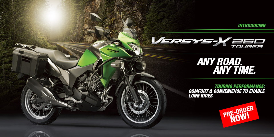 Kawasaki Indonesia's promotional banner for the Versys-X 250.
