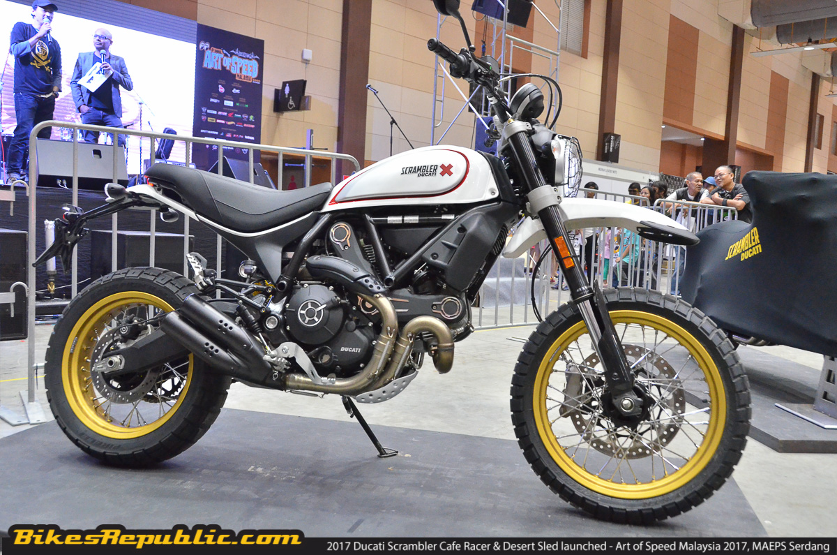2017 ducati scrambler cafe racer desert sled launched. Black Bedroom Furniture Sets. Home Design Ideas