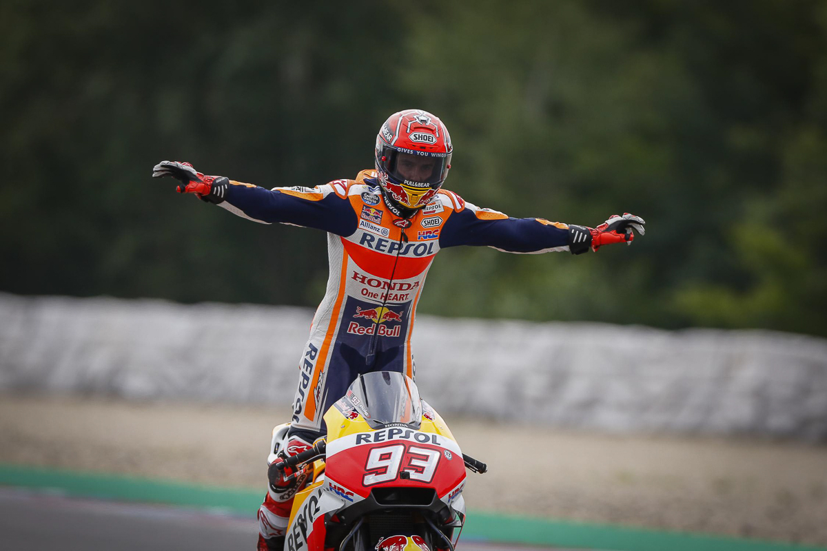 Marquez marches to Brno MotoGP win as rivals look on