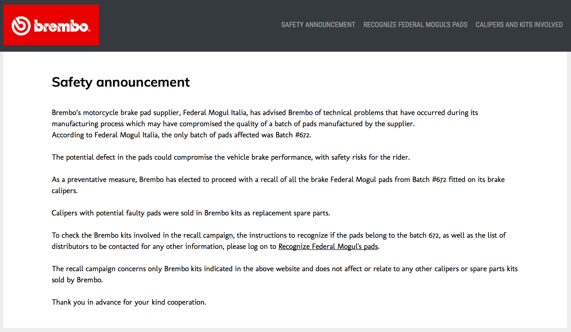 Brembo Hit with Second Major Safety Recall - BikesRepublic