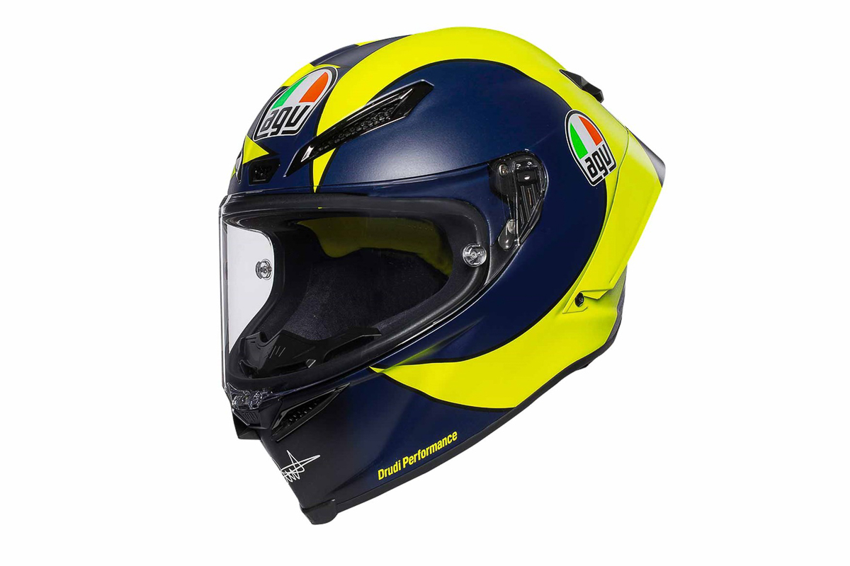 c034d4b7 The good folks from AGV have finally released the 2018 AGV Pista GP  Valentino Rossi replica for sale. This design is currently being used by  the nine-time ...