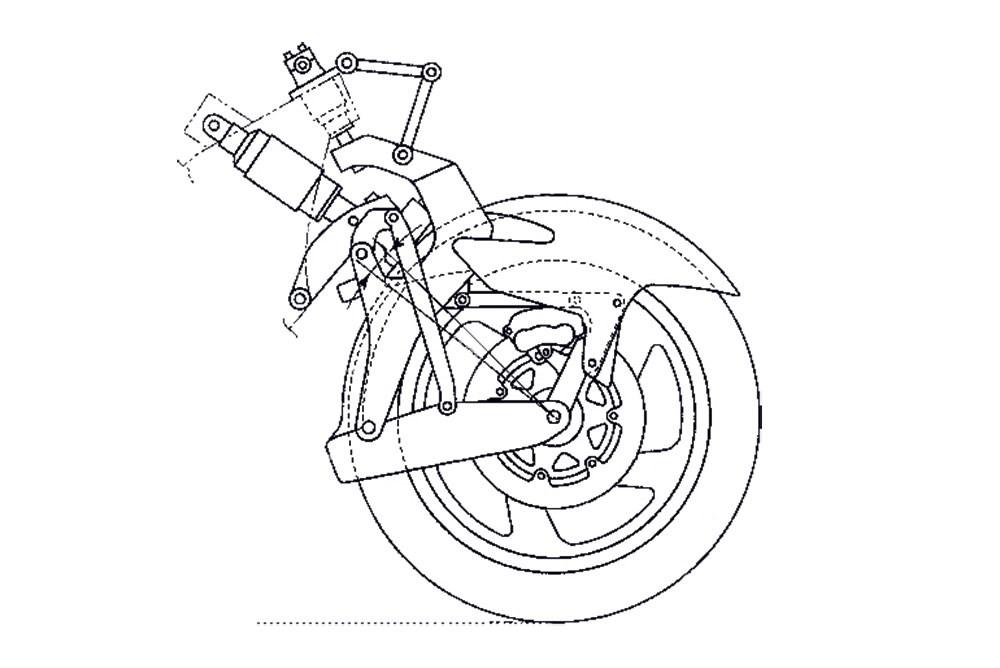 Radical front suspension design for next Honda Gold Wing
