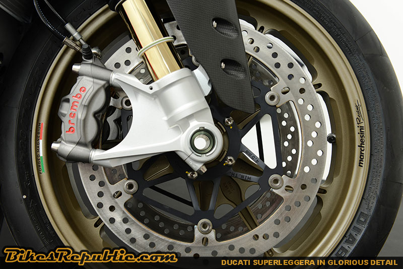 The Superleggera features radially mounted Brembo mono block Evo M50 calipers, and two 330mm discs.